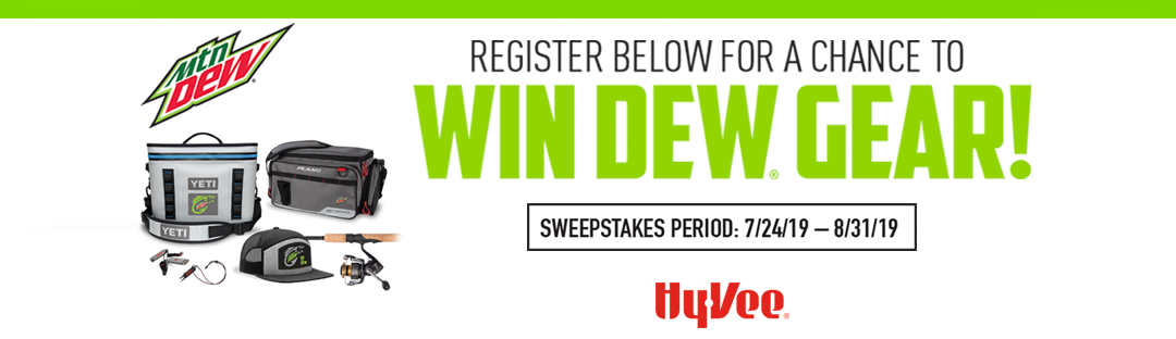 DewFishing Sweepstakes at HY-VEE Sweepstakes Banner
